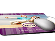 Print your own mouse mats. Available in three different shapes: rectangular, round and heart